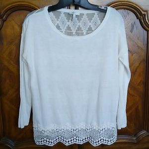 Joie white cotton knit, silk back lace trim top XS